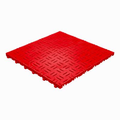 Werkplaatsvloer kliktegel traanplaat rood
