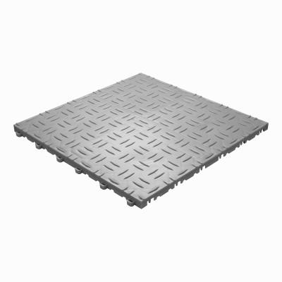 Werkplaatsvloer kliktegel traanplaat grijs-alu