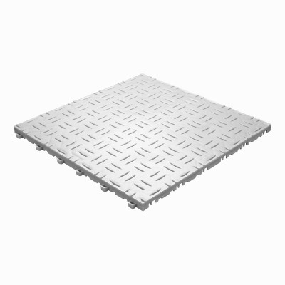 Werkplaatsvloer kliktegel traanplaat wit-alu