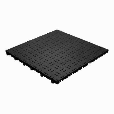 Werkplaatsvloer kliktegel traanplaat zwart